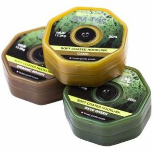 RidgeMonkey Rm-Tec Soft Coated Hooklink 25lb35Ib Organic Brown,Weedy Green,Camo
