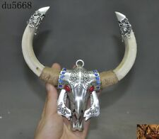 Old Tibetan Tibet silver Inlay turquoise Wild boar tusks Ox head amulet Pendant