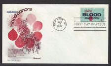 #1425  BLOOD DONORS  Fleetwood 1971 First Day Cover