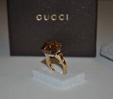 GUCCI Smokey Quartz 18K Yellow Gold Chiodo Cocktail Ring Size IT 16 / US 7.5 - 8