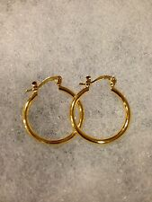 Small Size Plain Simple Classic Round Hoop Earring-18K Gold-Plated