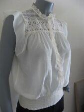 NEW Womens Chiffon Blouse Knit Top M Isabella Rodriguez Beige Ivory Lace $68