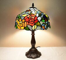 """12""""W Flowers Stained Glass Tiffany Style Table Desk Lamp, Zinc Base!"""