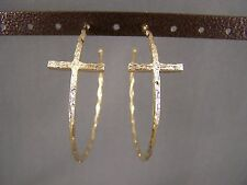 "Gold tone sideways horizontal Cross dangle hoop earrings 2.25"" wide post hoops"