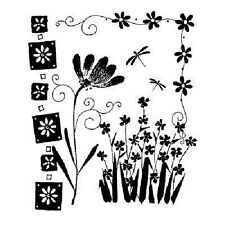 PENNY BLACK RUBBER STAMPS AN AFTERNOON FLOWER COLLAGE STAMP