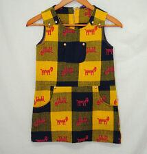 Vintage 60s 70s Girls Dress Jumper Yellow Blue Pink Goat Sz 7 Check Measurements