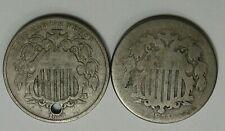 2- SHIELD Nickels. 1868 - Hole, 1874 - Weak.  #37