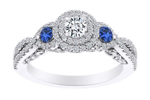 0.63 Ct Round Simulated Sapphire & Natural Diamond Engagement Ring In 14k Gold