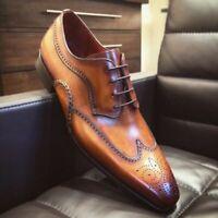 Handmade Mens Oxford Two Tone Brogue Shoes, Brown Dress Office Cap Toe Men Shoes