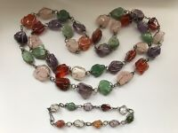 Chunky Caged Natural Stones Beaded Necklace & Bracelet.