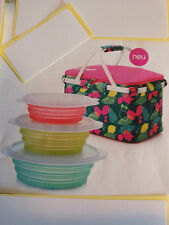 Tupperware Kühl- Picknickkorb, Thermo, in rosa/türkis mit 3er Set Faltschüsseln