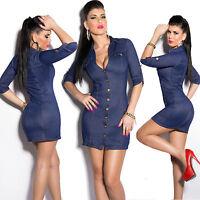 Top Women Mini Dress Clubbing Ladies Blue Jeans Look Blouse Size 10 12 38 40 M L