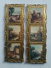 Lot 2 vintage gold Italian Florentine wood wooden wall picture plaque Made Italy