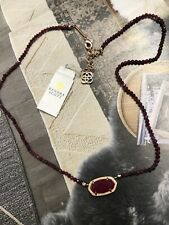 KENDRA SCOTT ELISA BEADED NECKLACE IN ROSE GOLD & MAROON JADE RED NEW.