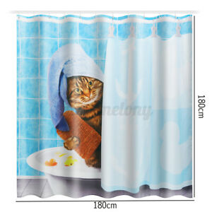Bath Rugs Toilet Mat Toilet Lid Rug wtih 12 Hooks 72x72in Fashion/&Man 4PCS Cute Cat Shower Curtain Sets with Rugs Waterproof Polyester Fabric Bathroom Curtains Blue Showering Cat