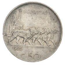 ITALIA Vittorio Emanuele III 50 Centesimi 1925 Leoni - Contorno rigato