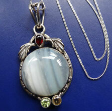 vintage 925 STERLING SILVER multi gem stone & agate pendant chain necklace -C628