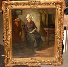 Werqenijs * Bild Öl-Gemälde * Holland Frau mit Brief in der Stube 60x50cm 11270