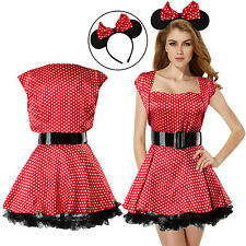 Sexy Women Ladies Cosplay Missy Minnie Mouse Fancy Dress Costume Outfits Party