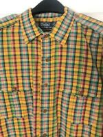 Polo Ralph Lauren Mens XXL Plaid Long Sleeve Button Down Linen Shirt Yellow EUC