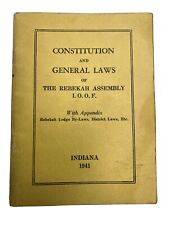 Vintage Constitution By Laws Rebekah Assembly Indiana IOOF Odd Fellows Book 1941