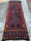 Authentic Hand Knotted Suzani Kilim Kilm Wool Area Runner 7 x 2 Ft (2839 HMN)