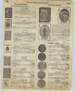 1918 PAPER AD Poker Playing Cards Movie Star Souvenir Deck Charlie Chaplin Clark