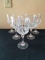 "SET OF 6 Cristal d'Arques LONGCHAMP CLEAR 6-1/2"" Wine Glasses; EUC!"