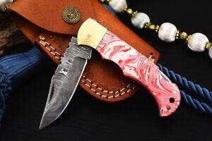 MH KNIVES RARE CUSTOM DAMASCUS STEEL FOLDING/POCKET KNIFE BACK LINER LOCK F-13W