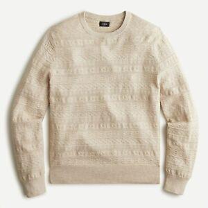 J.Crew Cotton Lightweight Sweater Guernsey Stitch AW680 Heather Taupe Size XL