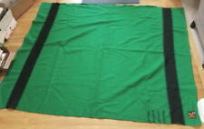 Vtg Green Trapper Point Wool Blanket, 67 x 85, faded section underside, 4 point