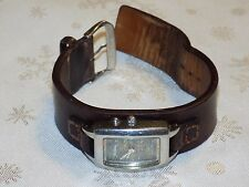 Ladies Beautiful  FOSSIL BIG TIC  Wide Brown Leather Stainless Quartz Watch