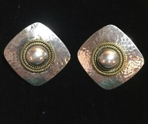 Vintage Taxco Sterling Silver 925 Mixed Metal Pierced Earrings Signed Mexico