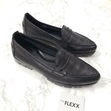 The Flexx Moc A Go Leather Flats Pointed Toe Moccasins Loafers Shoes Black 6.5