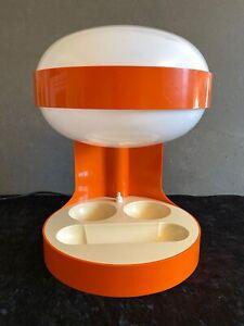 Colombo Kartell Tischlampe orange mit Utensilo 70er UFO Design Space Age Lampe