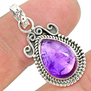 925 Sterling Silver 4.24cts Natural Purple Amethyst Pear Pendant Jewelry T35789