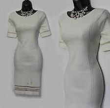 Monsoon Ivory Knitted Embellished Short Sleeves Dress UK 12 Wedding Evening