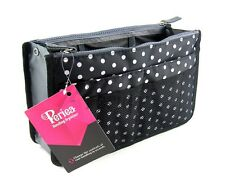 Periea Handbag Organiser, Organizer, Insert, Black/White Polka Dots - Chelsy