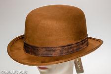 Bowler/ Derby Hat Brown Faux Suede Deluxe Men's Victorian Steampunk Costume Hat
