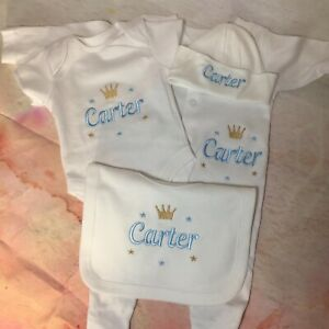 Personalised embroidered Baby baby grow gift set, Crown Design