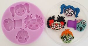 HALLOWEEN HEADS SILICONE MOULD FOR CAKE TOPPERS CHOCOLATE CLAY ETC