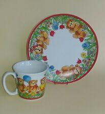 Lucy & Me Bears Springtime Flowers And Bears Plate & Mug Lucy Rigg Enesco
