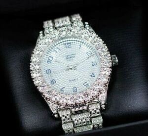 Iced Watch Bling Rapper Simulate Solitaire Diamond Stone Band Silver Hip Luxury