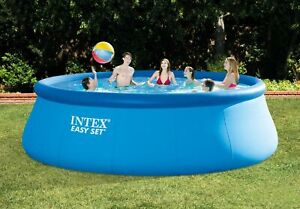 """Intex 15' x 48"""" Inflatable Easy Set Above Ground Swimming Pool w/ Ladder & Pump"""
