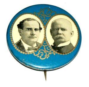"1900 WILLIAM JENNINGS BRYAN ADLAI STEVENSON 1.75"" FILIGREE pin pinback button"