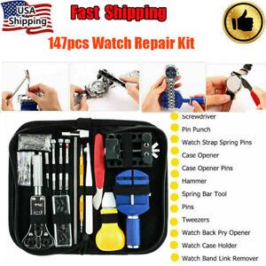 147pcs Watch Repair Kit Watchmaker Back Case Remover Opener Link Pin Spring Bar