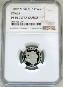1989 P PLATINUM AUSTRALIA $25 KOALA 1/4 OZ PROOF COIN NGC PF 70 ULTRA CAMEO