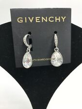 $38 Givenchy silver one clear teardrop drop earrings MG1