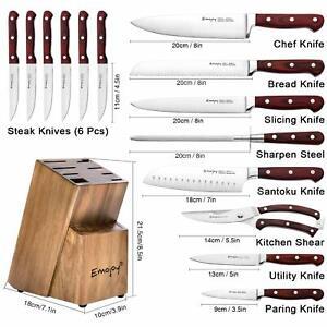 KNIFE STEAK SET KITCHEN GERMAN SHARP STAINLESS STEEL WOODEN CHIEF BLOCK SERRATED
