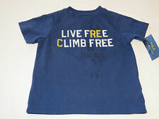 Youth boy's Polo Ralph Lauren 7 t shirt navy blue TEE NWT Live Free Climb Free